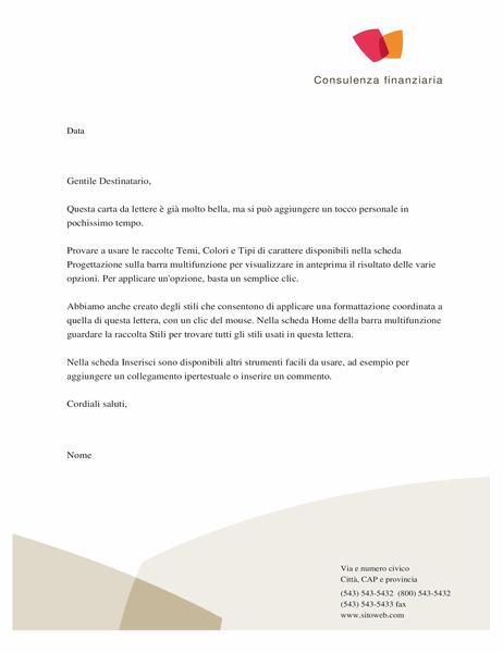 Carta intestata per aziende finanziarie