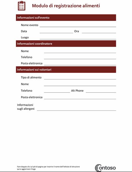 Modulo di registrazione alimenti