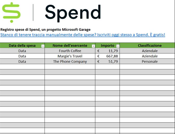 Registro spese Spend