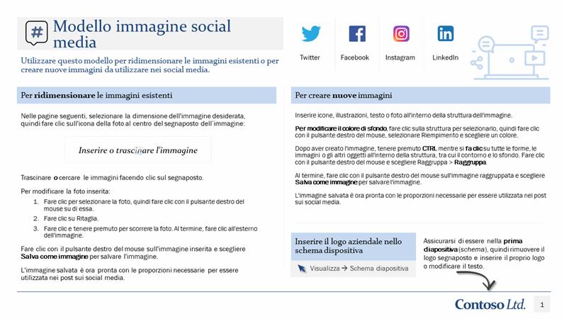 Modello immagini social media