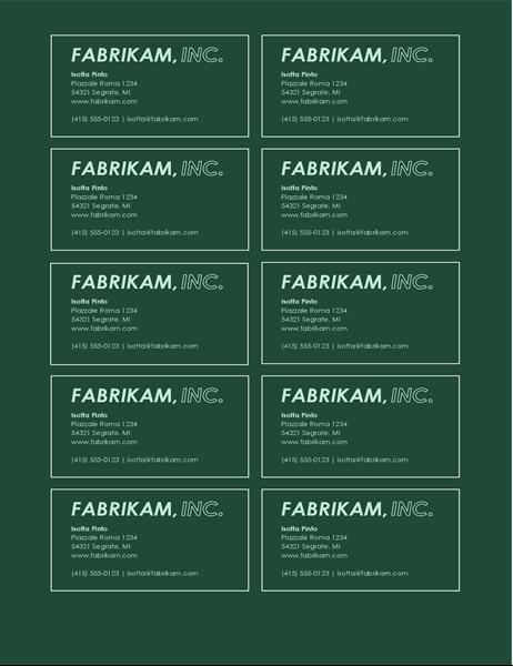Biglietti da visita con logo in grassetto (10 per pagina)