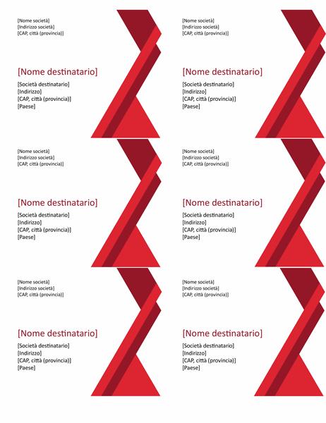 Etichette con angoli in grassetto (6 per pagina)
