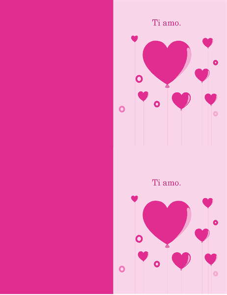 Biglietto di San Valentino con palloncini a cuore