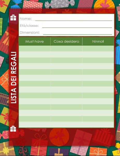 Lista dei desideri per le festività dei bambini