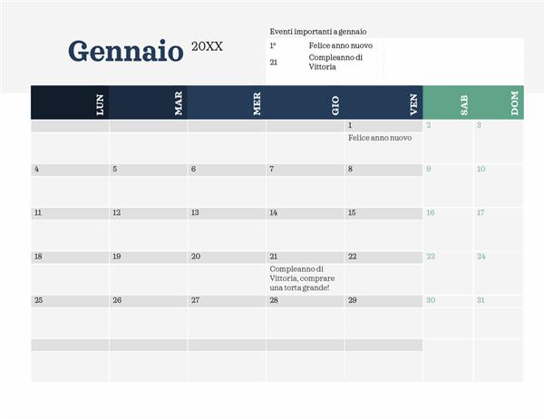 Calendario moderno con elementi evidenziati
