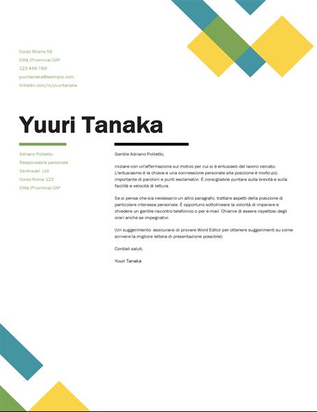 Lettera di presentazione in stile geometrico