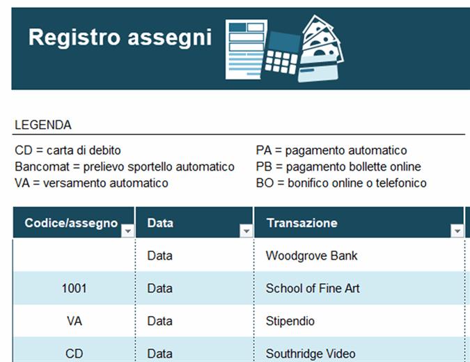 Registro assegni con codici delle transazioni