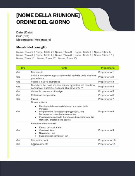 Ordine del giorno di riunione didattica