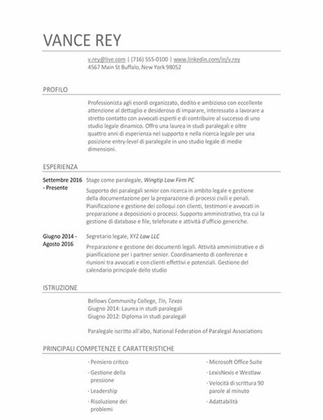 Curriculum per assistente legale