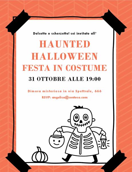 Invito per Halloween con scheletro