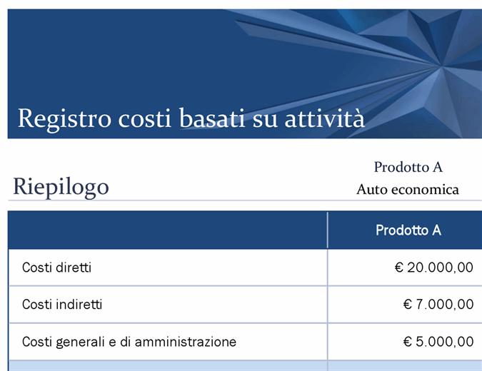 Registro dei costi di attività