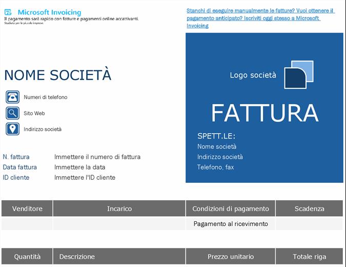 Fattura ordine con Microsoft Invoicing