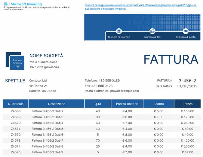 Registro fatture di vendita con Microsoft Invoicing