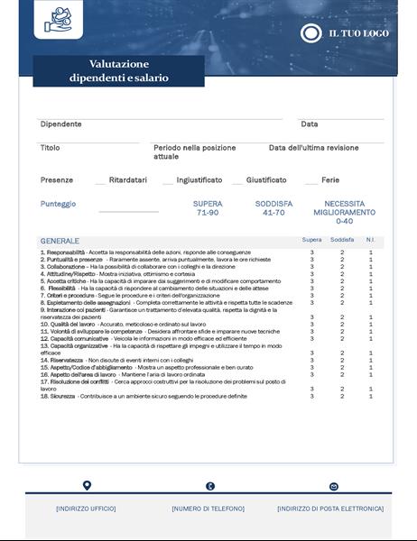 Valutazione dei dipendenti e controllo salario delle piccole imprese