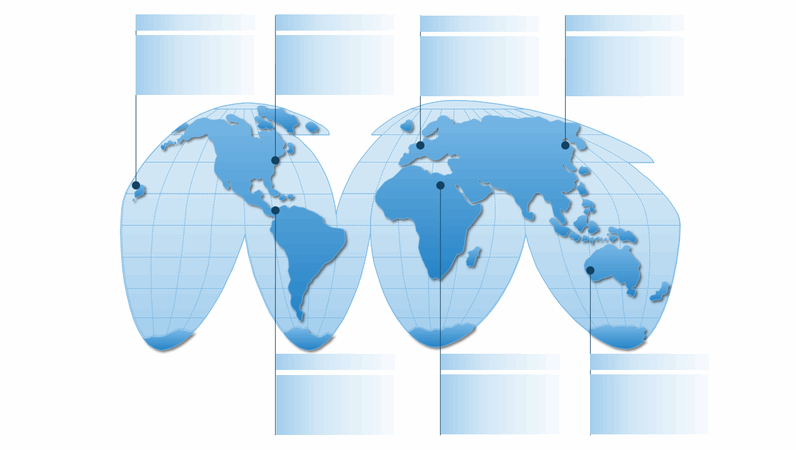 Elemento grafico della mappa del mondo pesudocilindrica
