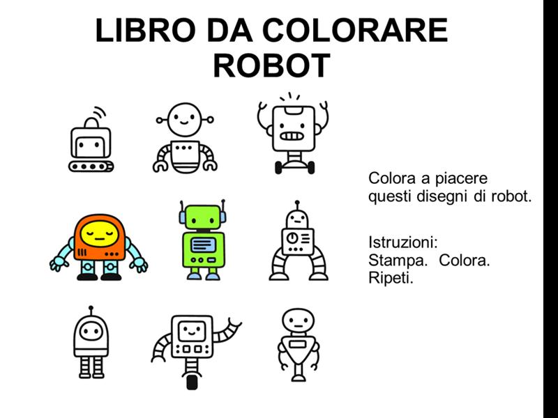 Libro da colorare con robot