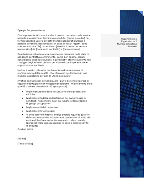 Lettera relazioni del fornitore assistenza sanitaria