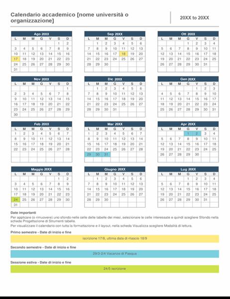 Calendario dell'anno accademico