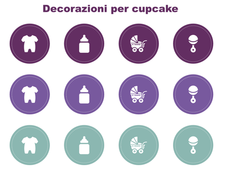 Decorazioni cupcake per baby shower