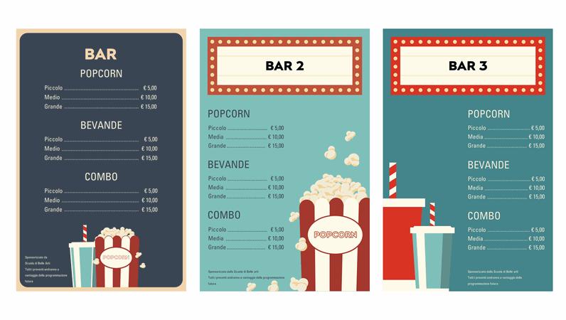 Poster del bar per una serata cinema