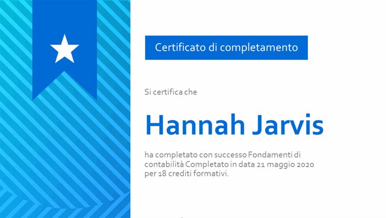 Certificato di completamento