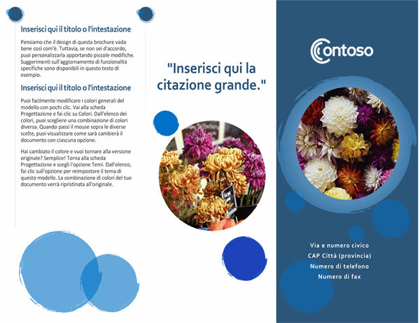 Brochure con sfere blu