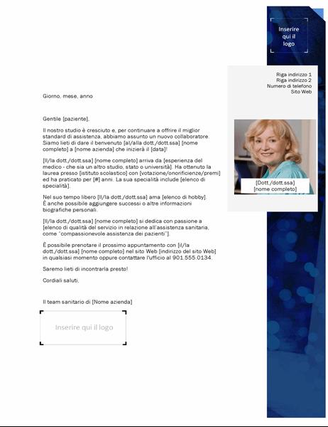 Lettera di introduzione del fornitore assistenza sanitaria
