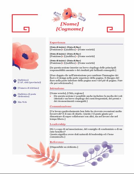 Curriculum floreale rosa