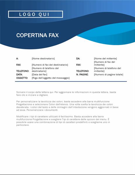 Copertina fax con curva blu