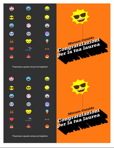 Biglietto per laurea con emoji