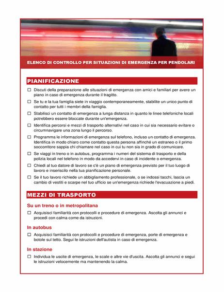 Elenco di controllo per situazioni di emergenza per pendolari