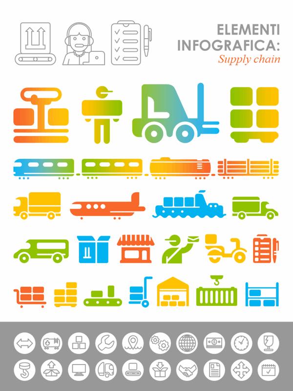 Immagini infografiche della catena di approvvigionamento