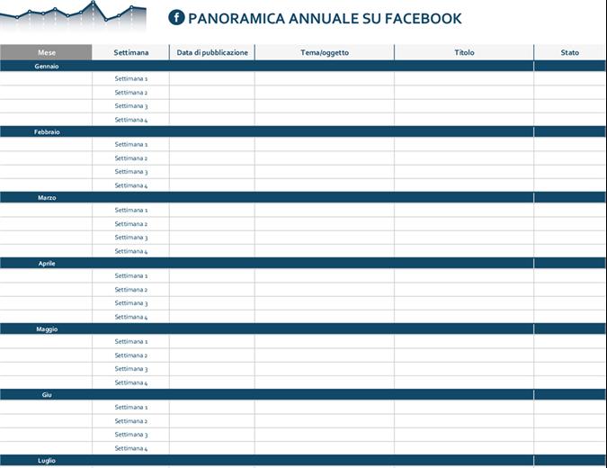 Calendario editoriale per piattaforme di social media