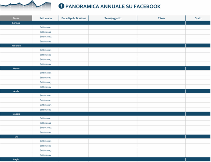 Calendario editoriale per piattaforme di social media