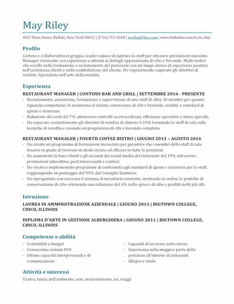 Curriculum per gestore di ristorante