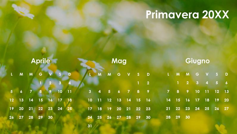 Calendario trimestrale basato sulle stagioni