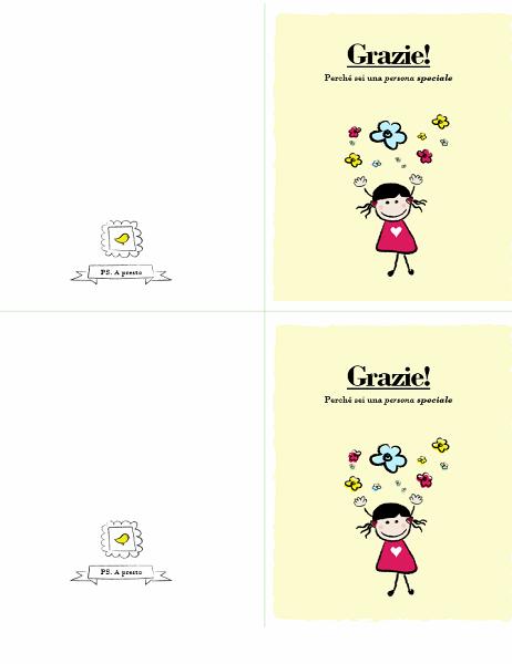 Biglietto di ringraziamento con bambina