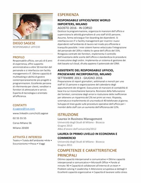 Curriculum per responsabili ufficio