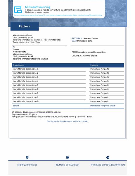 Fattura per servizi con Microsoft Invoicing