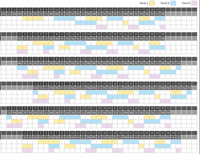Calendario dei turni di lavoro