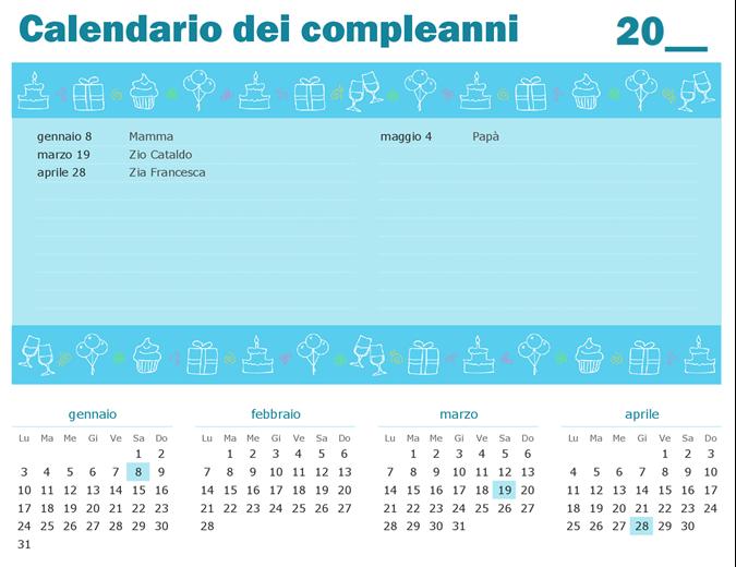 Calendario dei compleanni con evidenziazioni