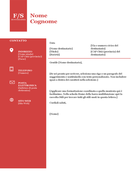 Lettera di presentazione con monogramma in grassetto