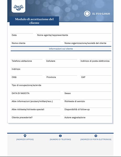 Modulo di assunzione di clienti per piccole imprese