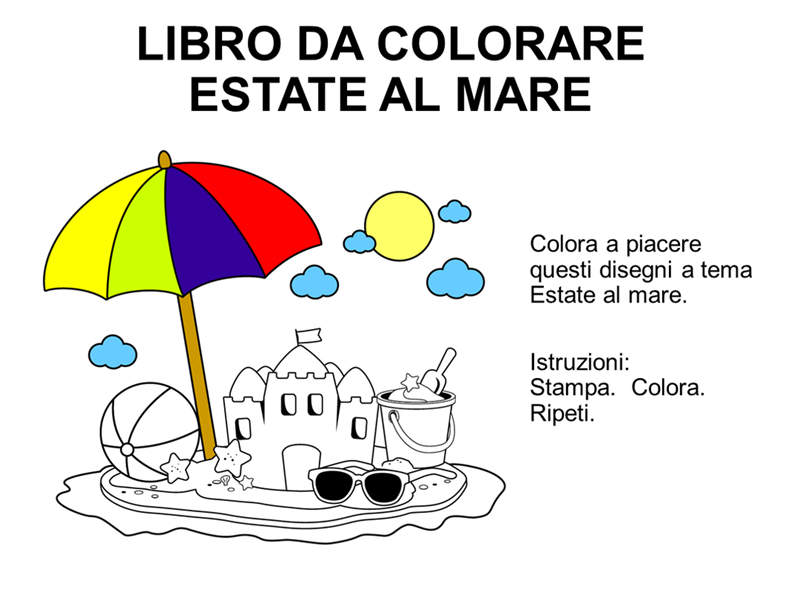 Libro da colorare a tema Estate al mare
