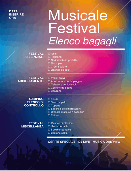 Elenco di controllo per la valigia del festival musicale
