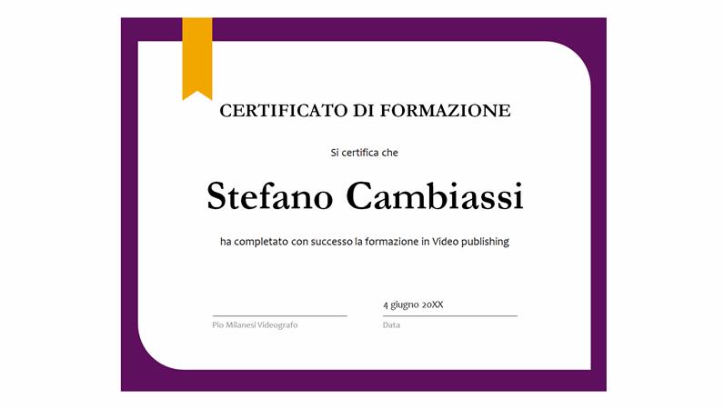 Certificato di formazione