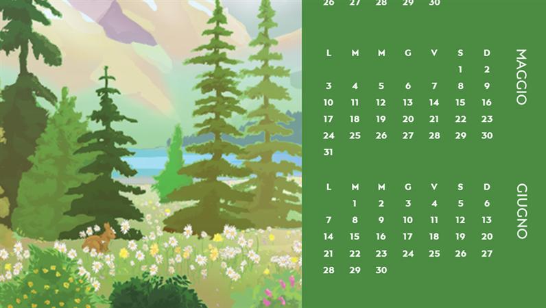 Calendario trimestrale basato sulle stagioni a tema natura incontaminata