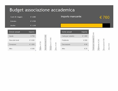 Budget associazione accademica