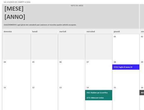 Calendario dei compiti a casa