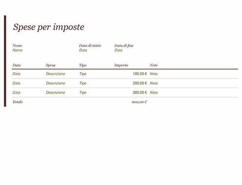 Registro spese per imposte